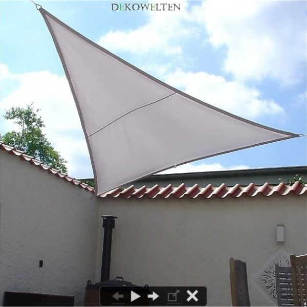 Luxus Sonnensegel 3,75m dreieck gleichschenklig inkl. 3 Seilen Farbe: grau