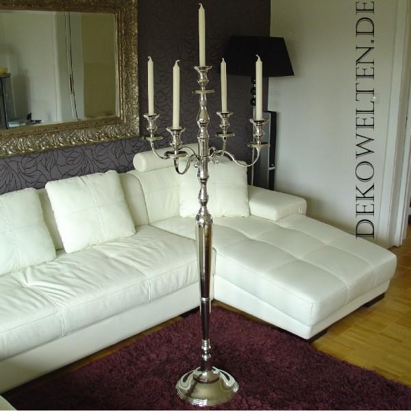 Kerzenleuchter 150cm BIG Silber Farbend 5-flammig breite Version für Event