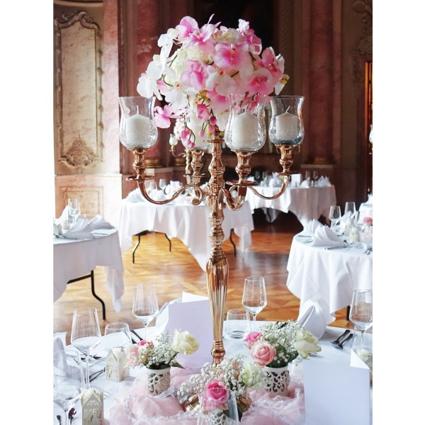 Kerzenleuchter 90er big Rose Bündel Kerzenständer 78cm inkl. 4 x Glasaufsatz 1 x Blumenschale