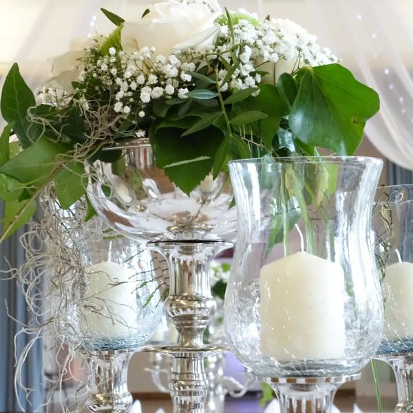 Blumenschale 16cm durchm. Farbe : Silber für Kerzenleuchter mit Metallfuß