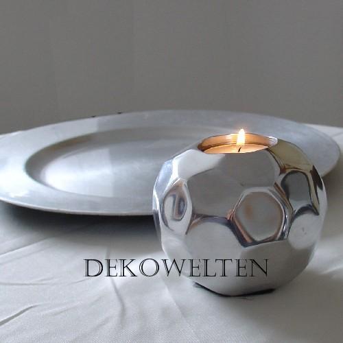 Teelichthalter Kugel Metall 10cm Durchm. Silber Farbend schwere Version für Event und Home