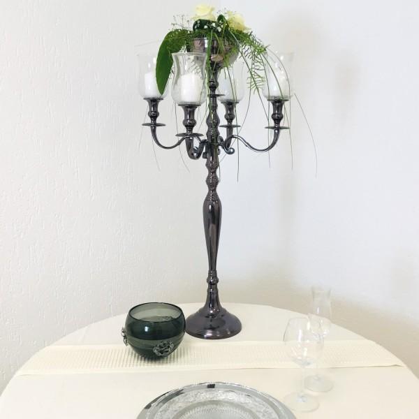 Kerzenleuchter 90er big Bündel Kerzenständer 78cm inkl. 4 x Glasaufsatz 1 x Blumenschale BlackPearl