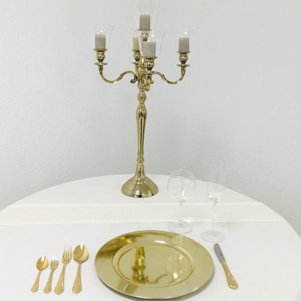 Kerzenleuchter 74er big Bündel Kerzenständer 63cm inkl. 5 x Glasaufsatz Gold Shiny farbend