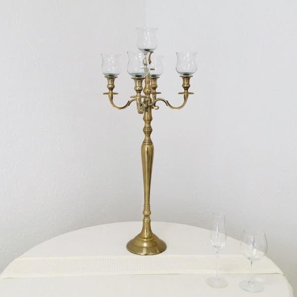 Kerzenleuchter 90cm Gold leicht matt farbend 5-flammig SM inkl 5 x Glasaufsatz Version für Home & E