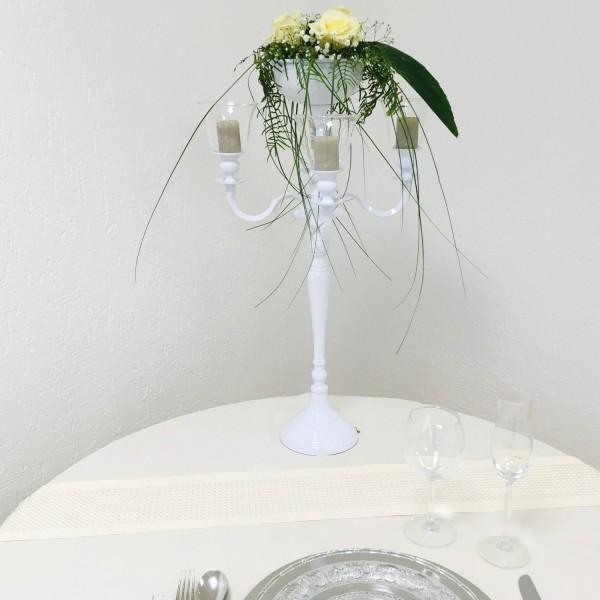 Kerzenleuchter 74er big Bündel Kerzenständer 63cm inkl. 4 x Glasaufsatz 1 x Blumenschale WEISS