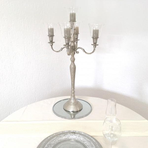 Kerzenleuchter 74er big Bündel Kerzenständer 63cm Hammerschlag inkl. 5 x Glasaufsatz Silber