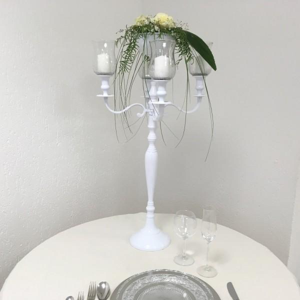 Kerzenleuchter 90er big Bündel Kerzenständer 78cm inkl. 4 x Glasaufsatz 1 x Blumenschale weiss