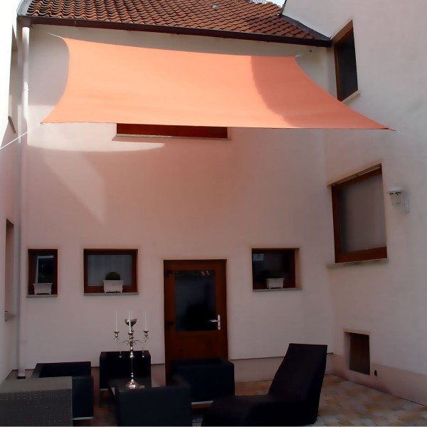 Luxus Sonnensegel 4,0 x 4,0m Viereck inkl. 4 Seilen Farbe: Terracotta