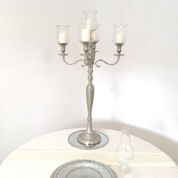 Kerzenleuchter 90er big Bündel Kerzenständer 78cm Hammerschlag inkl. 5 x Glasaufsatz 15cm Klar silbe
