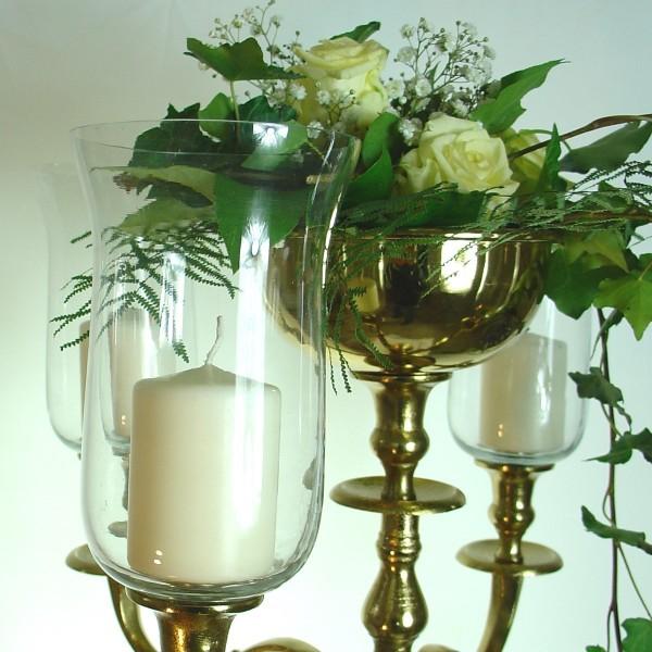 Glasaufsatz Teelichthalter 18cm klarGlas mit Gummiring