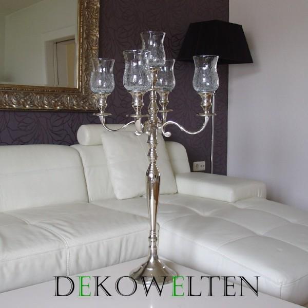 Kerzenleuchter 90er big Bündel Kerzenständer 78cm inkl. 5 x Glasaufsatz 15cm CR/Klar silbern