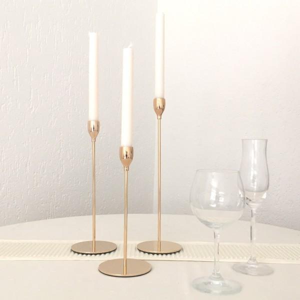 Kerzenleuchter 3er Set Gold 23-33cm Gold leicht Rose Farbend Event Version für Event und Home