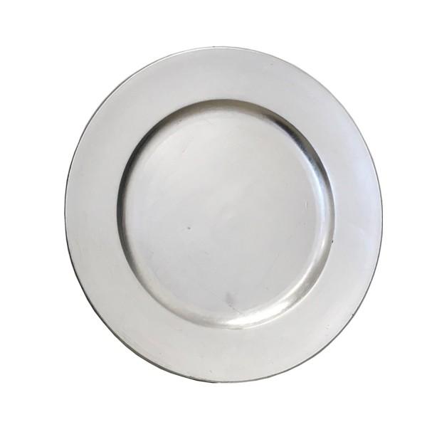 Platzteller Dekoteller Kunststoff ø 33cm Farbe: Silber Event