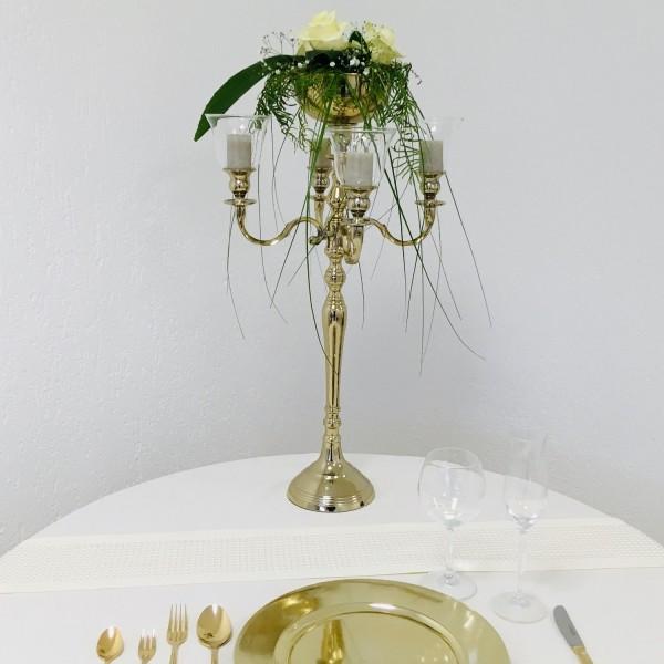 Kerzenleuchter 74er big Bündel Kerzenständer 63cm inkl. 4 x Glasaufsatz 1 x Blumenschale gold