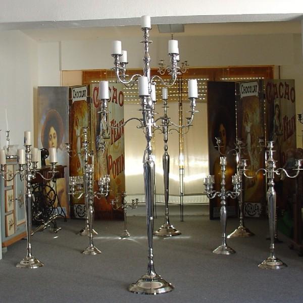 Kerzenleuchter 180cm BIG Silber Farbend 9-flammig breite Version für Event