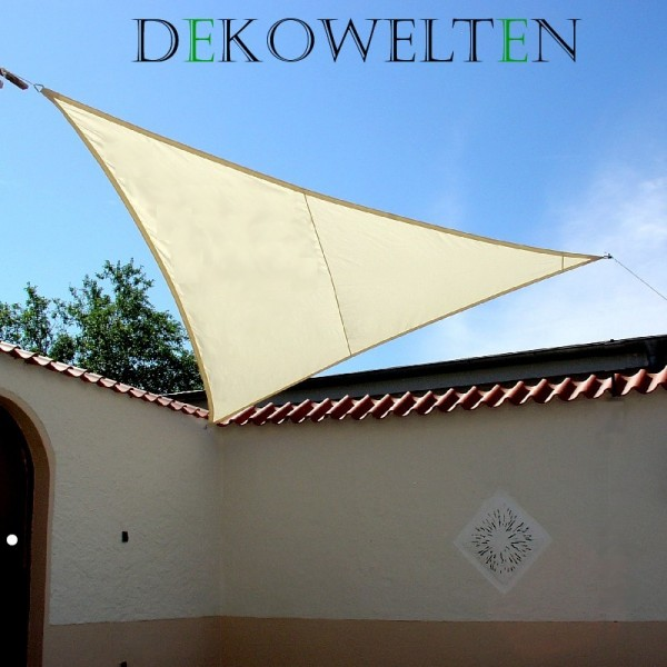 Luxus Sonnensegel 3,75m dreieck gleichschenklig inkl. 3 Seilen Farbe: Creme-