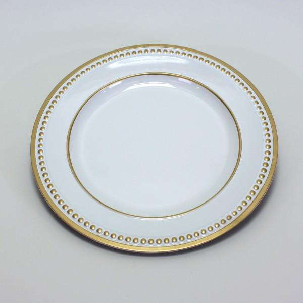 Platzteller Dekoteller Kunststoff ø 33cm Farbe: Weiß mit Gold-Perlenrand Eventartikel