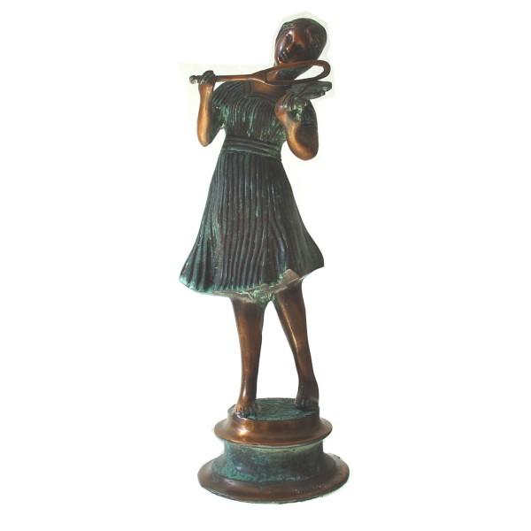 Skultur Mädchen mit Violine Geigenspielerin Bronze patiniert Messing Metall ca. 2,2 kg-Copy