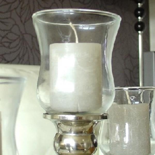 5 x Glasaufsatz Teelichthalter ca. 8cm dünne Version klarglas mit Gummiring