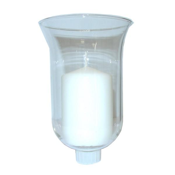 Glasaufsatz Teelichthalter 13,5cm klar - Glas mit Gummiring für Kerzenleuchter von 50-180cm