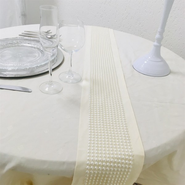 Tischläufer Perlen Dekoläufer Tischdeko vielseitig einsetzbar 1,80m lang 10cm breit