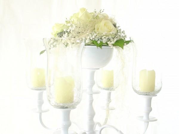Blumenschale 16cm durchm. Farbe : weiss für Kerzenleuchter mit Metallfuß