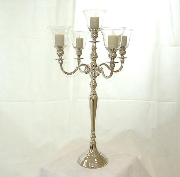 Kerzenleuchter 74er big Bündel Kerzenständer 63cm inkl. 5 x Glasaufsatz Silber