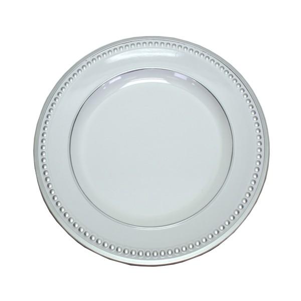 Platzteller Dekoteller Kunststoff ø 33cm Farbe: Weiß mit Silber-Perlenrand Eventartikel