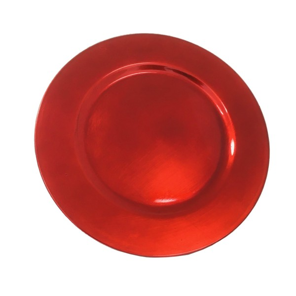 Platzteller Dekoteller Kunststoff ø 33cm Farbe: Rot - Weinrot Eventartikel Weihnachten