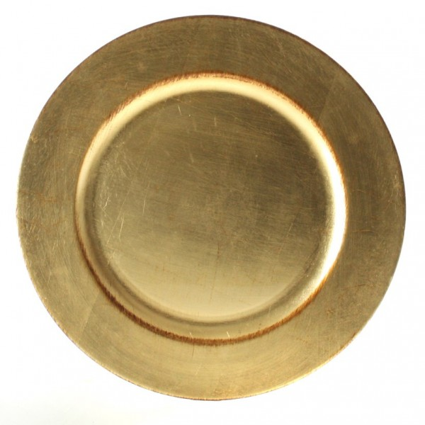 Platzteller Dekoteller Kunststoff ø 33cm Farbe: Gold Antik mit brauner Patina Eve