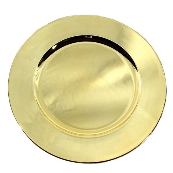 Platzteller Dekoteller Kunststoff ø 33cm Farbe: Gold - Metallic Eventartikel